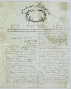 Faksimile av det håndskrevne tidsskriftet Forloren Skildpadde, No. 2, 1837, NB Ms.4° 1180