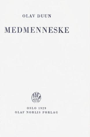 Faksimile av tittelblad, 1. utgave, 1929