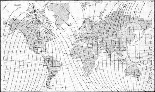 KART 1. MAGNETISKE MERIDIANER 1885.