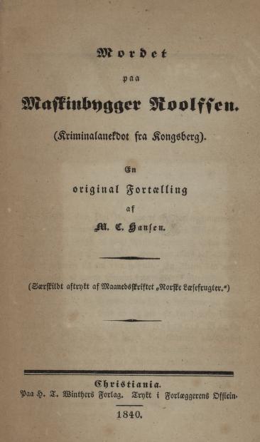 Faksimile av tittelblad, 1840-utgaven (nb.no)