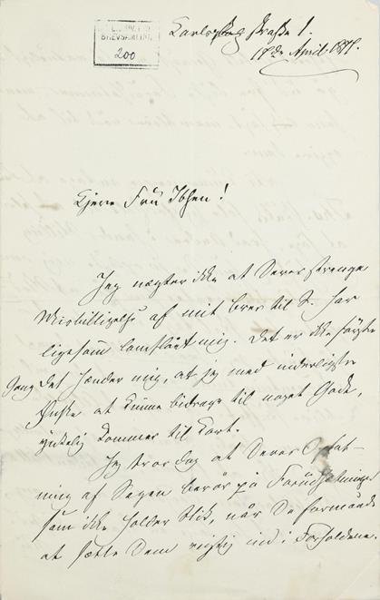 Eksempel på brevforside (brev til S.Ibsen, 17/4 1877, Brevs. 200)