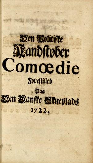 Faksimile av tittelblad i Hans Mikkelsens Comoedier, tome I, 1723