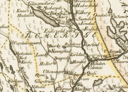 Utsnitt av Wangesteens Akerhuskart fra 1762