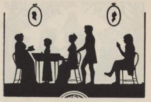Silhuett av familien Koren, klippet av Werner Hosewinckel Christie (Grevenor 1922)