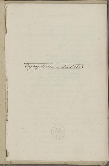 Dagbok 1833, forside,  Ms.8° 867