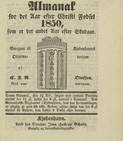 Dagbok 1850, almanakk (forside), Ms.8° 869