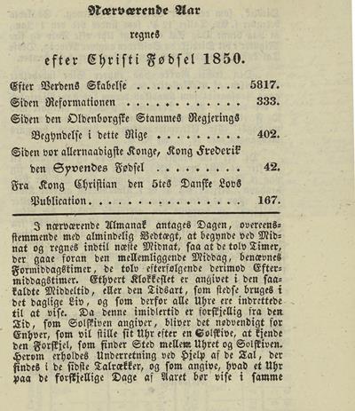 Dagbok 1850, almanakk (s. 3), Ms.8° 869