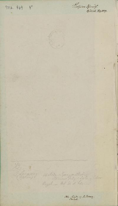 Dagbok 1850, omslag (innside), Ms.8° 869