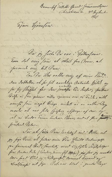 Brevs. BB 2, fra Camilla Collett til Bjørnstjerne Bjørnson, 4/9 1867, s. 1