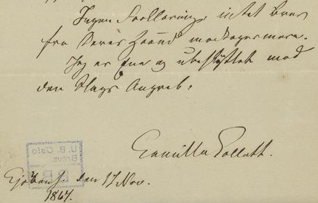 Utsnitt av siste brev fra Collett til Bjørnson