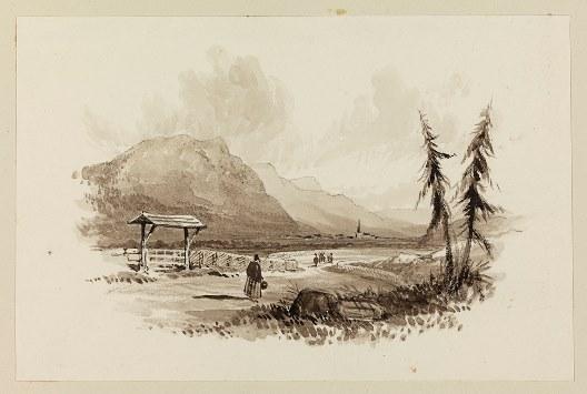 Kongsberg, akvarell av Robert Batty ca 1820–30 Nasjonalbiblioteket blds_04972