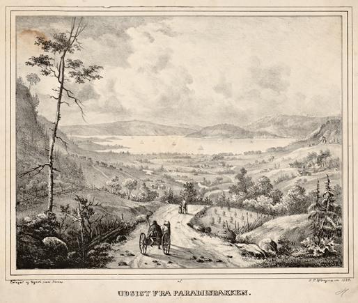 Peter Frederik Wergmann: Udsigt fra Paradiisbakken, 1835 Nasjonalbiblioteket, blds_08202