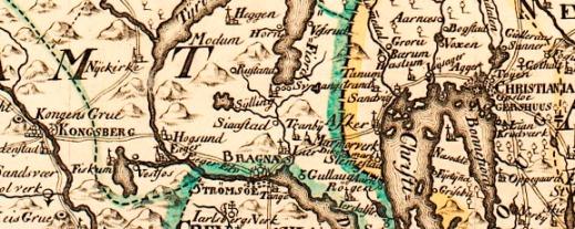 Utsnitt av Wangensteens kart over Aggershuus Stift fra 1762. Nasjonalbiblioteket Kart 184