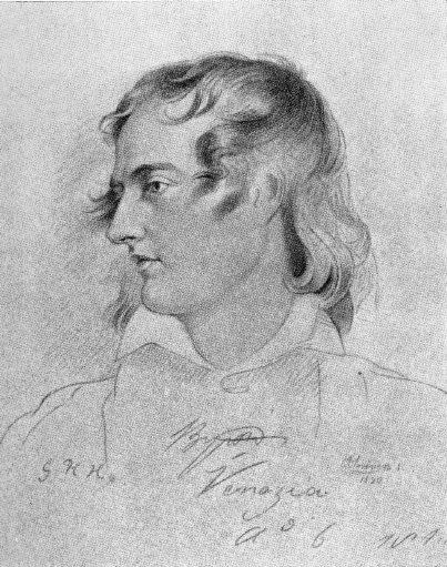 Lord Byron, tegnet av G. H. Harlow (omkring 1820)