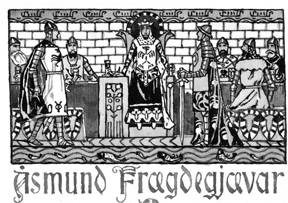 illustration to the ballad of Åsmund Frægdegjæva by Gerhard Munthe