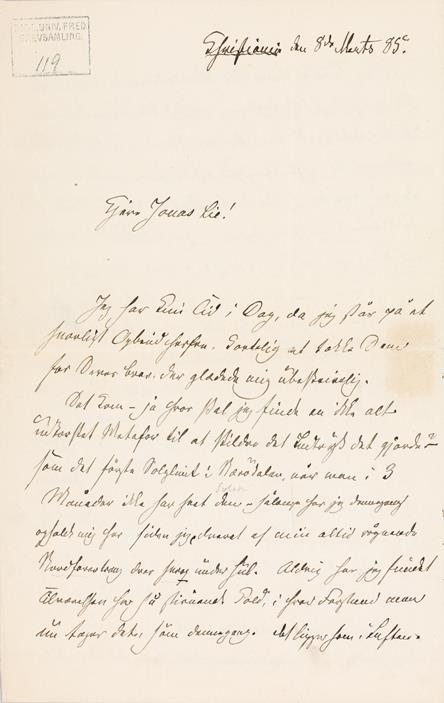 Brevs. 119, fra Camilla Collett til Jonas Lie, 8/3 1885, s. 1