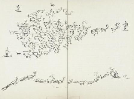 Faksimile av illustrasjon i 1987-utgaven, s. 12-13. Turi tegnet selv alle illustrasjoner til boken.