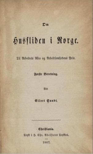 Tittelblad, Om Husfliden i Norge, 1. utgave, 1867 (nb.no)