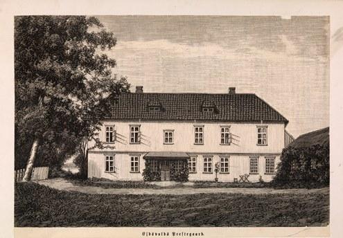 Eidsvoll prestegård: Nasjonalbiblioteket, blds_02761. Xylografi av Andreas Ludvig Søborg, fra Skilling-Magazin 1881, 312.