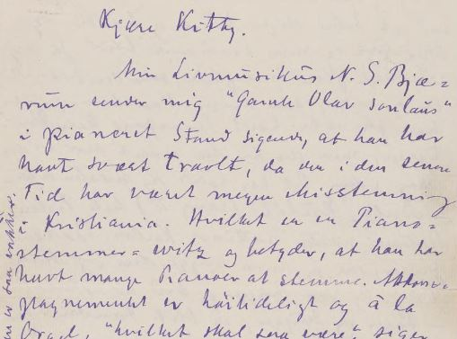 Arne Garborg, brev til Kitty L. Kielland 14. mars 1888, Brevs. 129