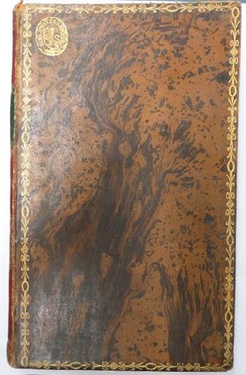 Helt skinnbind med marmorert dekor og gulltrykk