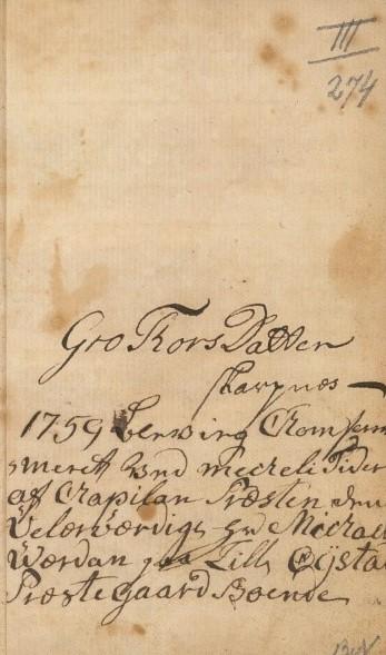 Eiersignatur og inskripsjon skrevet på bakre forsatsblad (Gro Thorsdatter Skarpnes)