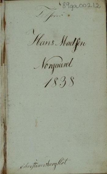 Eiersignatur/inskripsjon på forsatsbladet (Tilhører Hans Madsen Norgaard 1838. Christiansborg Slot)