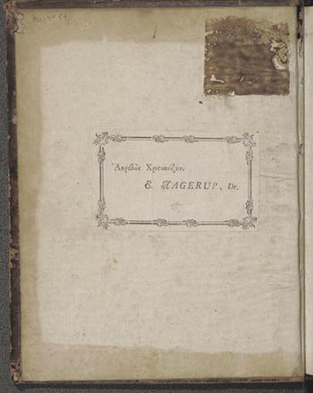 Eieretikett av papir (E. Hagerup, Dr.)
