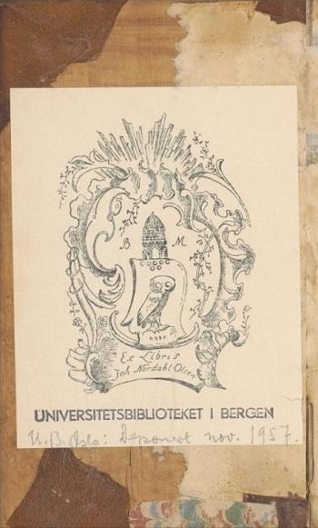 Ekslibris av papir (Ex Libris Joh. Nordahl-Olsen)