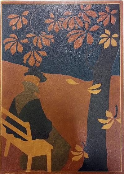 «Høst», adressemappe tegnet av Th. Holmboe og utført i skinnintarsia av Refsum. Eier: Nasjonalmuseet (Nasjonalmuseets dokumentasjonsarkiv/NMFK/KIM-1002/Eh/Eha)