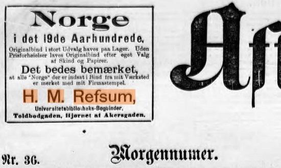>Annonse i Aftenposten (morgenavisen), 18.01.1903