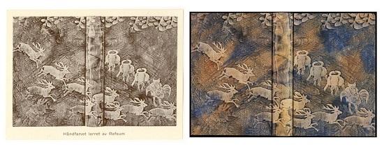 Trykt annonse for dekorert tekstilovertrekk i Ratche 1930. Her vist sammen med originalen: Trygve Hjort-Johansen, Det grønne loppecirkus, 1928