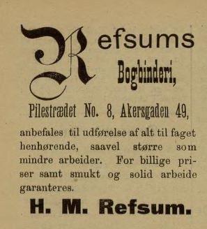 Annonse i Norske Intelligenssedler, 1889