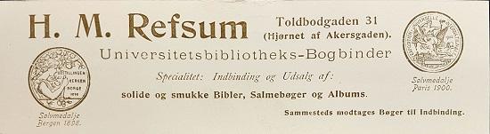 Reklame i form av bokmerke, vedlagt i Øverland, Dedekam og Bøgh 1903