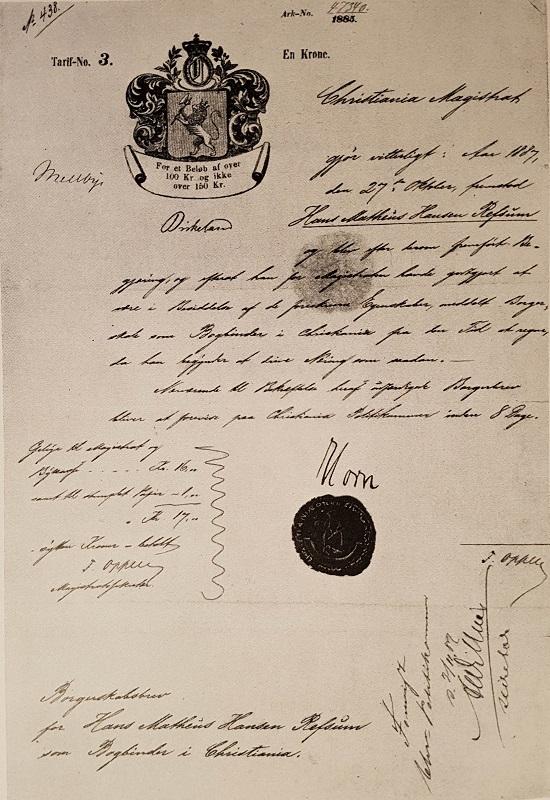 H. M. Refsums borgerbrev som bokbinder, utstedt 27.10.1887 av Christiania Magistrat