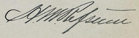 Refsums egenhendige navnetrekk på verso side av visittkortet